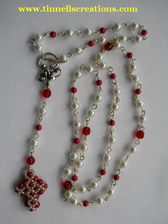 Beaded Pearl Cross Rosary Necklace