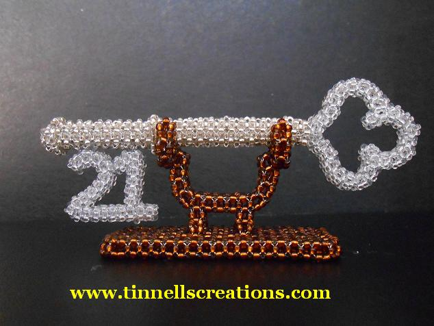 3D Beaded 21 Anniversary Key